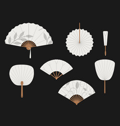 Chinese fans japanese traditional hand fan set vector
