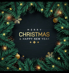 christmas tree branches decorative frame vector image