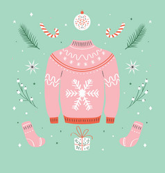 christmas ugly sweater pattern vector image