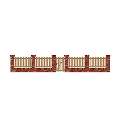 Classic brick fence with wood planks and gate vector