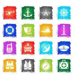 Coastguard icon set vector