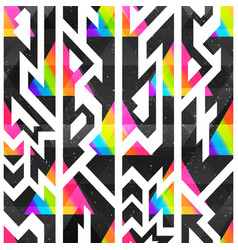 colored geometric seamless pattern with grunge vector image