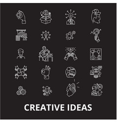 creative ideas editable line icons set on vector image