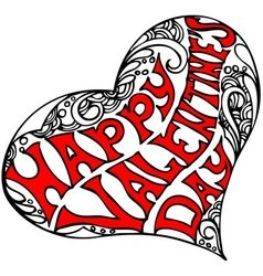 Decorative heart shape with the inscription Happy vector