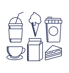 delicious milkshake with set food vector image