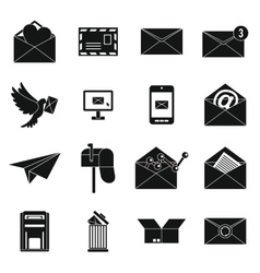 Email icons set simple ctyle vector image