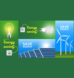Energy saving banner set realistic style vector