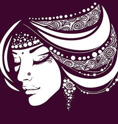 Exotic silhouette of the woman face vector