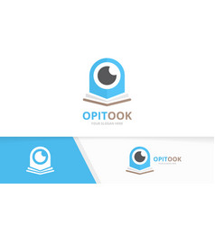eye and open book logo combination optic vector image
