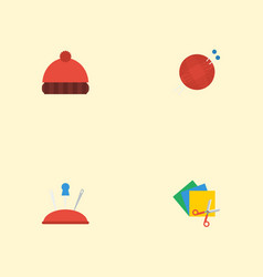 Flat icons pincushion scissors beanie and other vector