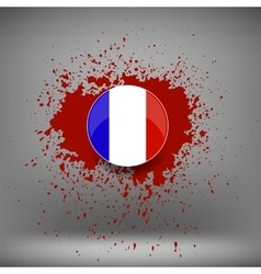 French icon and blood splatter vector