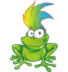 fun frog cartoon character mascot vector image