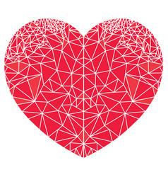 geometric polyart love heart shape vector image