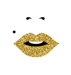 Girl face with gold lipstick womens day concept vector