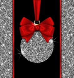 Glitter Card with Christmas Ball and Red Bow vector