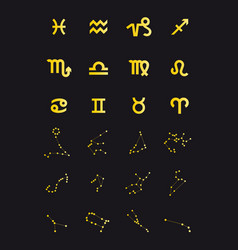 gold zodiac signs set vector image