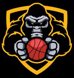 gorilla basketball mascot vector image