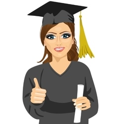 Graduation girl holding her diploma with pride vector