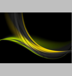 green yellow glowing waves on black background vector image