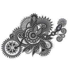 grey ornamental floral adornment vector image