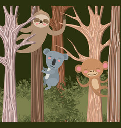 Group of animals in the forest scene vector