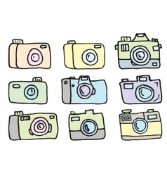 hand drawn set cameras vector image