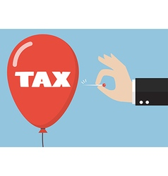 Hand pushing needle to pop the tax balloon vector image