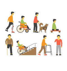 Handicapped people with disability limited vector