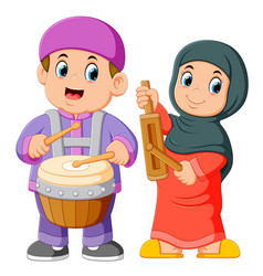 Happy muslim kid cartoon playing musical vector