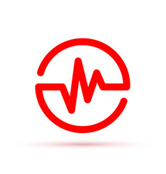 Heartbeat icon in the circle vector