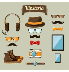 Hipster devices icons set vector