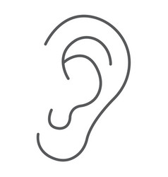Human ear thin line icon anatomy and biology vector