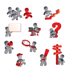 Icons information men vector image