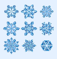 jewelry winter snowflakes from precious gems vector image