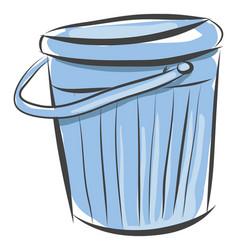 light blue bucket on white background vector image