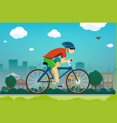man rides a bicycle on road in suburbs vector image