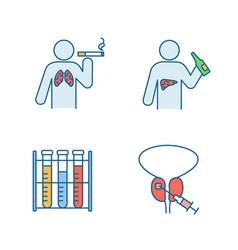 Mens health color icons set vector