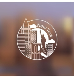 Minimalist round icon of New York USA Flat one vector image