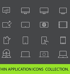 Modern gadgets pictograms collection Lineart vector