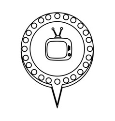 monochrome silhouette of tv in circular speech vector image