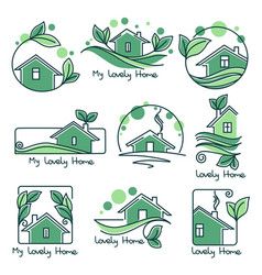 My lovely home set of ecological homes green vector