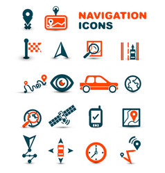 Navigation premium icon set vector