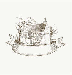Old farmhouse and garden ribbon for vector