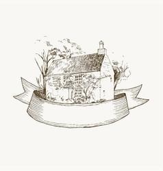 Old farmhouse and garden ribbon vector