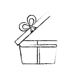 Open gift box ribbon wrapped sketch vector