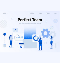 perfect team flat banner for business landing page vector image