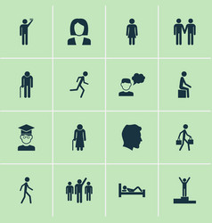 person icons set with gentlewoman human leader vector image