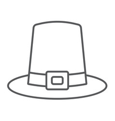 Pilgrim hat thin line icon thanksgiving vector