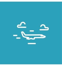 Plane flies through clouds line icon vector