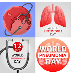 Pneumonia banner set cartoon style vector